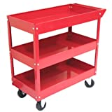 Excel 3-Tray Rolling Metal Tool Cart, Red