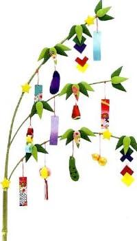 『七夕 笹飾り』 手作りちりめん細工 なごみの和雑貨 夏の風物詩 [おもちゃ&ホビー] [おもちゃ&ホビー]