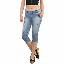 BAT Blue Solid Washed Jeans For Women