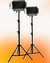 ePhoto 2 x 500 LED Video Panel Photography Video Light Panel with 2 Light Stand Lighting Kit Ultra Bright Day light Balanced White Photography Studio Video Panels by ePhotoINC ULS500x2