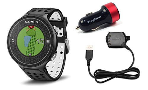 Garmin-Approach-S6-Golf-GPS-Watch-Dark-with-PlayBetter-USB-Car-Charge-Adapter-Bundle-Smart-Notifications-Swing-Metrics-40000-Worldwide-Courses