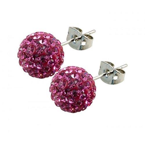 Tresor Paris 'Proussy' Pink Crystal Earrings, 10mm
