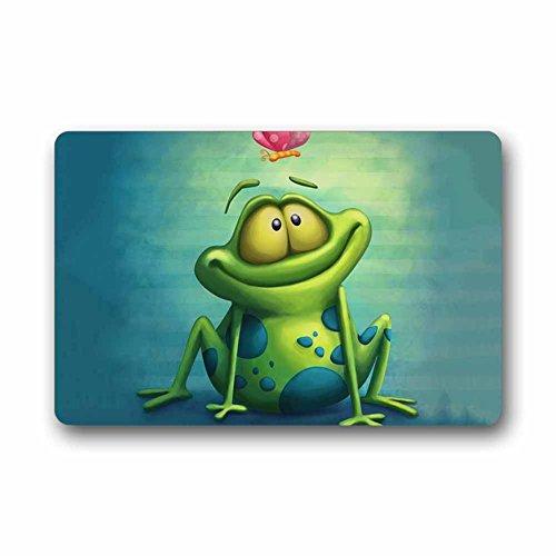 Custom frog Machine Washable Top Fabric Non-slip Rubber Indoor Outdoor Home Office Bathroom Doormat Size 23.6x15.7