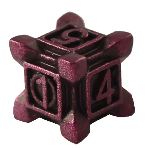 1 (One) Single IronDie: Solid Metal Italian Dice - Purple Swarm (Die-Cast Designer Six-Sided Die / d6) - 1