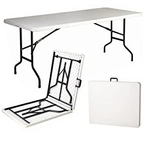 TJNS 6ft Plastic Folding Table 4 Banquet Camping Utility