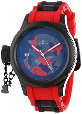 Invicta Women's 11357 Russian Diver Red Camouflage Dial Red Polyurethane Watch