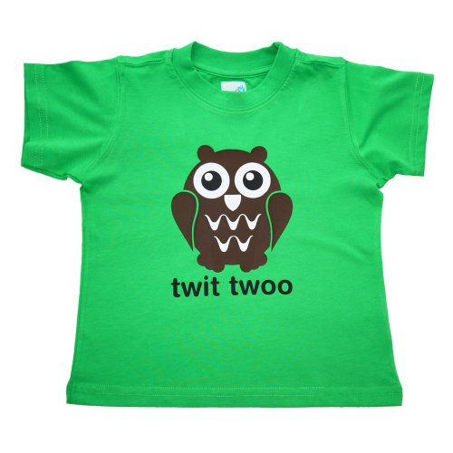 Milk And Cereal Boys Green Organic Cotton T-Shirt With Owl Print - Green - 1 Year