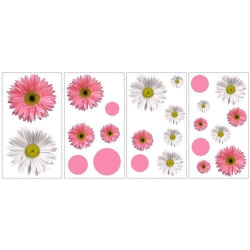 York Wallcoverings RMK1013SCS RoomMates Flower Power Peel & Stick Wall Decals, - 1