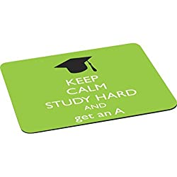 Rikki KnightTM Keep Calm Study Hard and Get an A Lime Green Color Mouse Pad