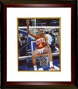 Spud Webb signed Atlanta Hawks 8x10 Photo Custom Framed (1986 Slam Dunk Champ on rim)