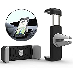 Tukzer Universal Air-Vent Car Mount Mobile Holder Stand Cradle, Portable Pocket Sized Lightweight Travel Stand with Expandable Jaw & Steady Grip, Securely Holds all Mobiles & GPS with Screen Size up to 5.5 inch [BLACK-GREY]