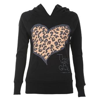 Ladies Leopard Heart Print Hoodie, Black ML 12-14