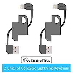 [Apple MFi Certified][2-Pack] Skiva Cord2Go Lightning KeyChain with Carabiner for iPhone 6 6s 6sPlus, iPad Pro Air mini, iPod touch 6 and more [8-pin Lightning to USB Charger Cable] [Model:CB147]