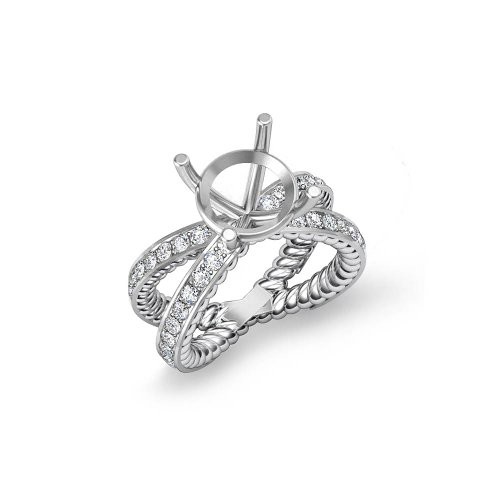 For sale 1Ct Round Diamond Antique Engagement Ring Setting, F – G Color, VS1 – VS2 Clarity (14k White-Gold) 12.5g