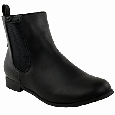 LADIES WOMENS FLAT LOW HEEL CHELSEA ANKLE BOOT ELASTIC GUSSET PULL ON RIDING HEEL SHOES SIZE (UK 3, Black Faux Leather)