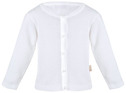 Lilax Baby Girls' Basic Knit Cardigan Sweater 9M White