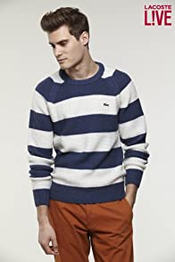 L!VE Wool Blend Heavy Gauge Bar Stripe Crewneck Sweater
