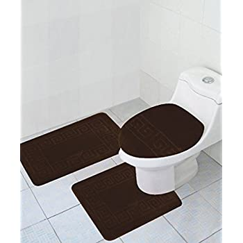 "3 Piece Bath Rug Set Pattern Bathroom Rug (20""x32"")/large Contour Mat (20""x20"") with Lid Cover (Brown)"