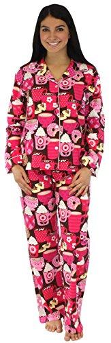 PajamaMania Women's Sleepwear Flannel Pajamas PJ Set Hot Chocolate- Lrg
