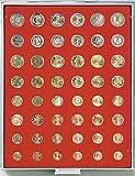 Münzbox für 6 × Euro Kursmünzensätze (mit je 8 Münzen) (Lindner 2506) Standard (Grauer Schuber, rote Veloureinlage) + 1 Gratis-Münze von Lindner Falzlos