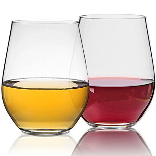 michley unbreakable stemless wine glasses100 tritan reusable glass for red or white wine bpa free dishwasher safe19 oz - Plastic Stemless Wine Glasses