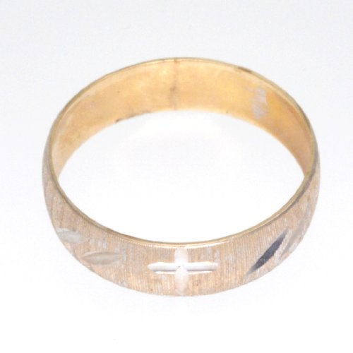 10K Two Tone Gold Cross Wedding Band