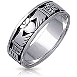 Bling Jewelry Sterling Silver Antique Styled Finish Claddagh Band Ring