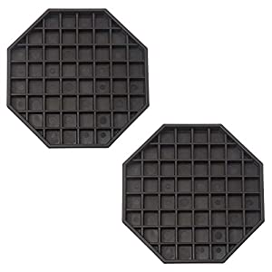 (Set of 2) Octagonal Black Plastic Drip Tray - 6 x 6 Inches