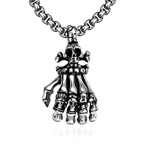 """Collana con Pendente da Uomo in Stile Vintage in acciaio inox 316L chirurgico, 24""""Box catena, acciaio inossidabile, colore: Skeleton, cod. GMYN049"""