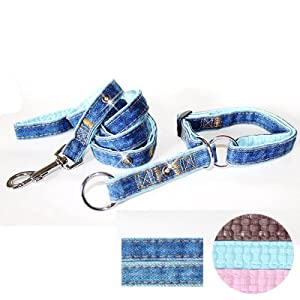 """Fab Denim"" Soft Leather Padded Soft Leather Padded Slip-on Dog Collar & Leash Set - Medium, Blue"