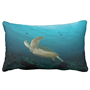 Zp Shine A Turtle In The Ocean Freely Well Decorating Your Room Green Decorative Home Pillowcase Cover Cushion Cover 20X36 inch by Zp Shine