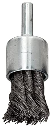 "Weiler Wire End Brush, Hollow End, Round Shank, Steel, Partial Twist Knotted, 3/4"" Diameter, 0.014"" Wire Diameter, 1/4"" Shank, 22000 rpm (Pack of 1)"