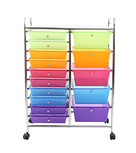 Finnhomy 15 Drawer Plastic Portable Mobile Organizer Rainbow, Multi Purpose  Utility Double Rolling
