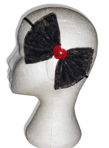 Black Lace Red Heart Tattoo Steampunk Gothic Emo Hair Bow Head Band