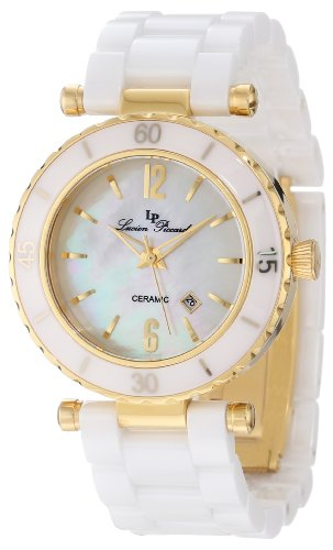 Lucien Piccard Women's LP-10222-WWGA La Tournette White/Gold-Tone Mother of Pearl Dial Ceramic Watch