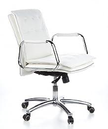 Hjh Office Villa 10 Siège de bureau type fauteuil de direction - Cuir Nappa (Veau) - Ivoire