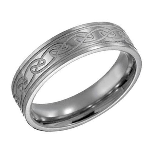 Titanium Engraved Celtic Knot Band - Size 6