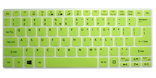 Translucent Green Ultra Thin Soft Silicone Keyboard Cover Protector Skin Fits Acer Aspire V5-122 V5-122P V5-132 V5-132P E11 E3-111 V3-111P 11.6-Inch Laptop Series Us Layout Compatible Models Listed In Product Description