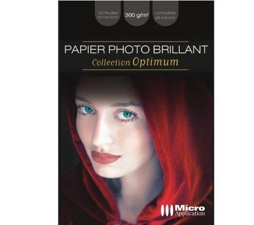 Papier photo brillant optimum 10x15 - 300g/m² - 100 feuilles