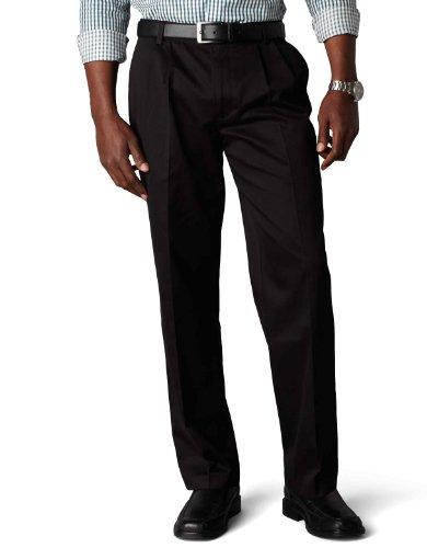 Dockers Men's Signature Khaki Big & Tall Pleated Pant,Black,46x29 Big Tall Dress Clothes