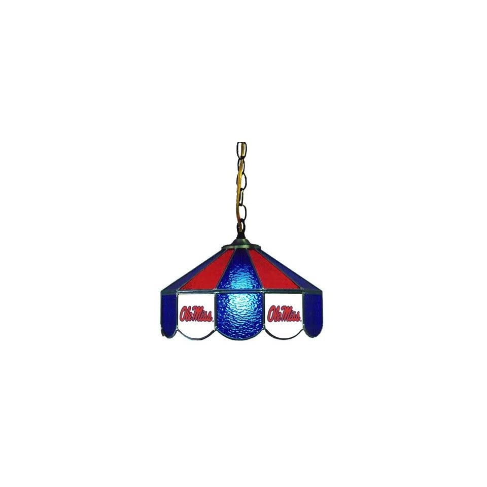 Sports Fan Products 7904S OMS NCAA Ole Miss Rebels 14 Stained Glass Swag Lamp