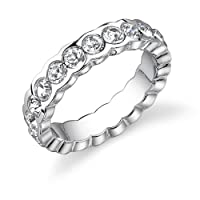 Exquisite Promise: Sterling Silver White Crystal Eternity Engagement Stackable Ring