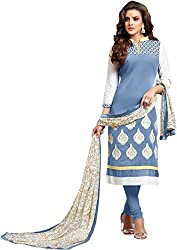 Fstore Sky blue embroidered cotton dress material