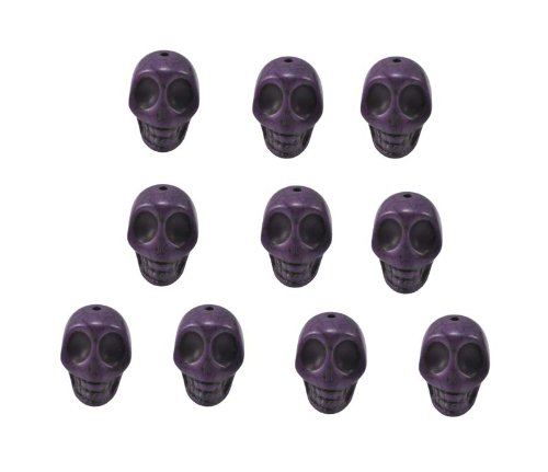 Purple Magnesite Dyed Gemstone Beads Carved Skull Beads, 14 X 10mm (10 Per Set)