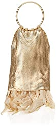 Whiting & Davis Metal Mesh Feather Fringe Ring Special Occasion Handbag