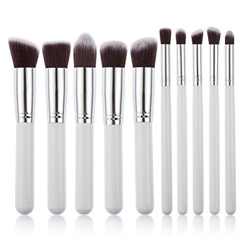 E-TOP 10 pcs Pinceaux Maquillage Kit Pinceau de Maquillage Brosse Cosmétique Brosses Maquillage Set Professionel Fondation Rougir Yeux Poudre(Blanc Argenté)