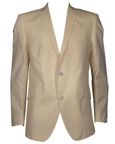 Holland Esquire Single Breasted Space Stripe Suit Jacket - Cream - 44