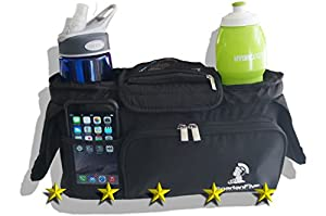 Stroller Organizer | Diaper Bag , Fits Umbrella, Britax, Baby Trend, and most others, Great for your BOB Jogging Stroller as well, Dual Cup Holders, Zippered Front Pocket, This Is One Of The Best Jogging Stroller Accessories You Can Buy, A Perfect Baby Gift. You Deserve This.
