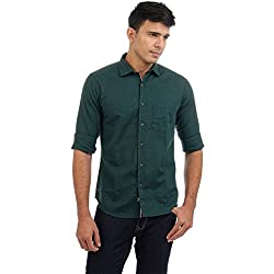 Sting Green Solid Slim Fit Cotton Casual Shirt