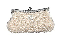 Womens Faux Pearl Cascading Bead Rhinestone Evening Clutch Fashion Purse (Champagne)